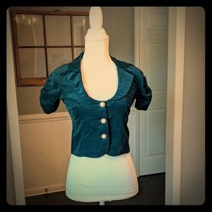 Jackets & Blazers - Cropped Teal Short Sleeve Blazer w/ White Tank Top